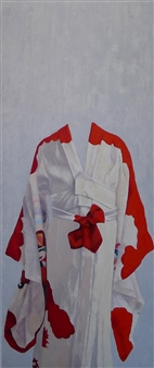 Kimono with Vermillion Sleeves
