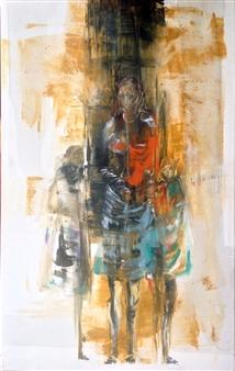 """Con sus hijas Acrylic on Canvas 31.5"""" x 19.5"""""""