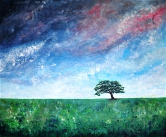 "Green Desert Acrylic on Canvas 39.5"" x 49"""