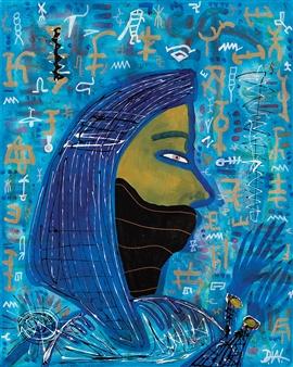 "Egyptian Woman Praying Acrylic on Canvas 36"" x 24"""
