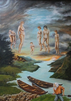 "Styx Acrylic & Oil on Board 27.5"" x 20"""