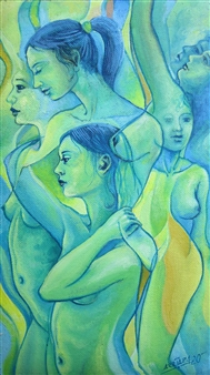 """Mujeres Oil on Canvas 11"""" x 6.5"""""""