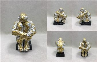 "SWAMI 4-7 Bronze & Gold Leaf 8"" x 5.5"" x 7"""
