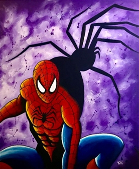 "Spiderman Acrylic on Canvas 23.5"" x 19.5"""