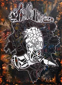 """Mister Unadvised Acrylic & Spraypaint on Canvas 47.5"""" x 39.5"""""""