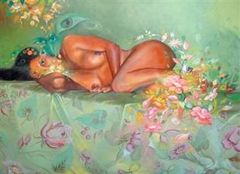 """Desnudo Recostado Oil on Canvas 27.5"""" x 31"""""""