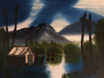 """Cabin Home Oil on Canvas 18"""" x 24"""""""