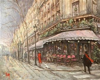 """Café Flore Oil on Canvas 15"""" x 18"""""""