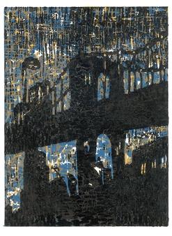 "Brooklyn Bridge  (3 colored) Woodblock print, Speedball gold color ink printing 14"" x 10"""