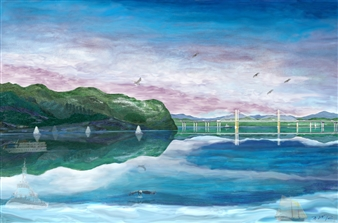 "NYs Riverine Thruway@Hudson Tappan Zee ▪1664_N Span Governor Mario Cuomo Bridge Hard Pastels with Multi-media 31.5"" x 48"""