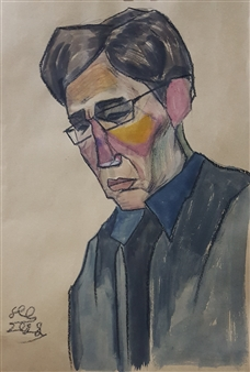 "Portrait of a Guy Watercolor & Pastel on Paper 16.5"" x 11"""