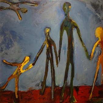 """Auzzie Family Oil on Canvas 46"""" x 46"""""""