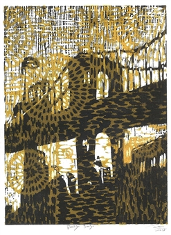 "Brooklyn Bridge  (2 colored) Woodblock print, Speedball gold color ink printing 14"" x 10"""