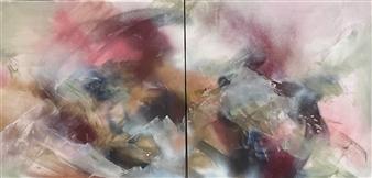 "Peach Colored Skies, We Feel the Sunrise Acrylic & Spraypaint on Canvas 30"" x 60"""