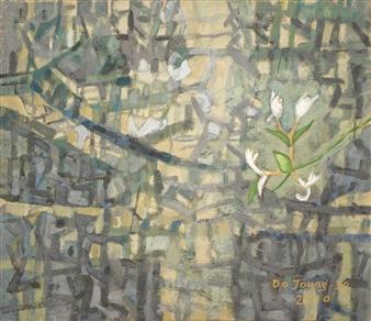 """Honeysuckle Flower Soil on Canvas 18"""" x 21"""""""