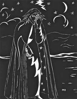 "La Nuit Ink on Paper 37.5"" x 24.5"""
