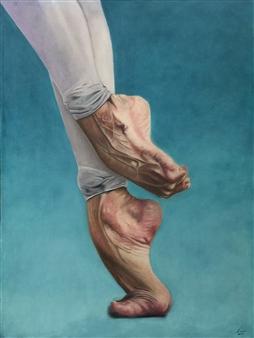 "Demi Pointe  (Media Punta) Oil on Stretched Canvas Board 47"" x 35.5"""