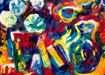 """Vases On The Deck Oil on Canvas 36"""" x 48"""""""