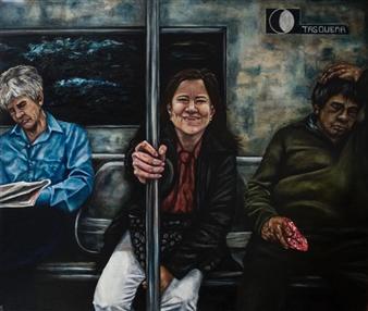 """La Felicità Nascosta Nei Visi Terreni Oil on Canvas 39.5"""" x 47"""""""