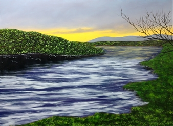 """Rushing Water at Sunset Acrylic & Oil on Canvas 11"""" x 14"""""""