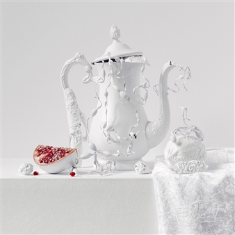 Still Life in White with Pomegranate / second variation