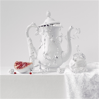 """Still Life in White with Pomegranate / second variation Archival Pigment Print 20"""" x 20"""""""