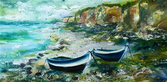 """My Cliffs with Azure Boats Acrylic on Canvas 16"""" x 31.5"""""""