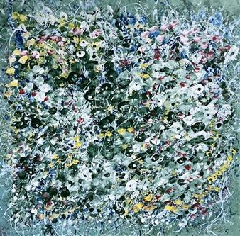 """Saugatuck Lilies Acrylic on Canvas 48"""" x 48"""""""