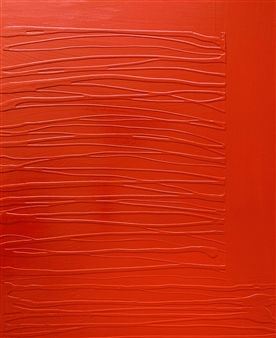 "Red Traversa Latex & Acrylic on Canvas 39.5"" x 31.5"""