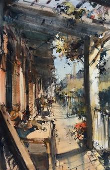 """En el Porche Watercolor 36.5"""" x 24.5"""""""