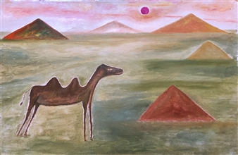 """Camel and Burn Oil on Canvas 19.5"""" x 29.5"""""""