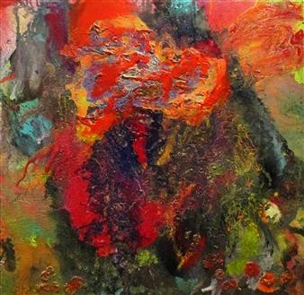 "Nebulae Oil, Acrylic, Gesso, Resin on Canvas 48"" x 48"""