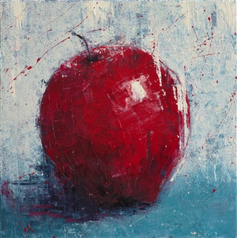 """Red Apple Oil on Canvas 16"""" x 16"""""""