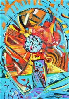 """Teleport Acrylic & Oil on Canvas 39.5"""" x 35"""""""