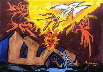 """The Spirit Of Love Rescues Us From Sadness & Pain Acrylic & Oil Stick on Canvas 23.5"""" x 34"""""""