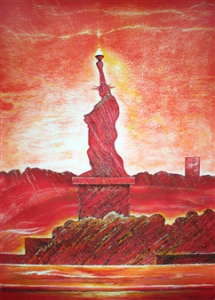 """The Landscape of 21C Lady Liberty_ For the Reds to Yellows  (triptych) Hard Pastels with Multi-media 44"""" x 31.5"""""""