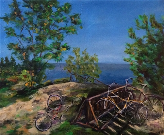 """Bicycles at the Beach Acrylic on Canvas 18"""" x 20"""""""