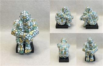 """SWAMI I-III Bronze & Gold Leaf 8"""" x 5.5"""" x 7"""""""