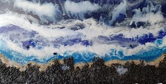 """Beach Escape Oil on Canvas 24"""" x 48"""""""