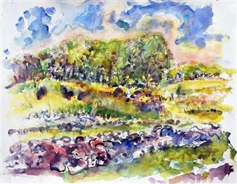 """Cross Street Cornfield Watercolor on Paper 21"""" x 28"""""""