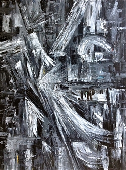 """Texture Black and White III Acrylic on Canvas 40"""" x 30"""""""