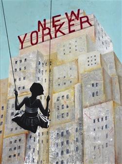 "New Yorker Acrylic on Canvas 47"" x 35.5"" x 2"""