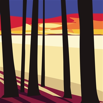 "Finnish Lakeside in Winter Digital Print on Paper 18"" x 18"""