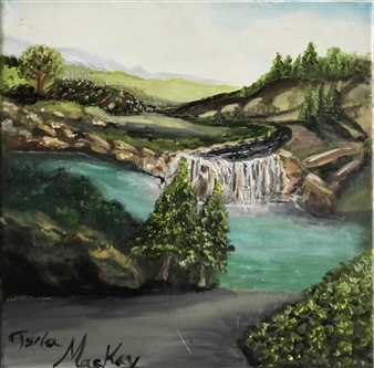 """Waterfall Oil on Canvas 12"""" x 12"""""""