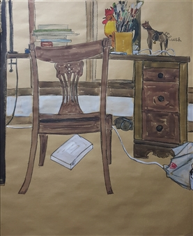 """Artist's Room Watercolor & Pastel on Paper 31"""" x 26"""""""