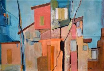 """The Neighborhood Acrylic on Canvas 15"""" x 22"""""""