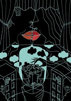 "You Had Me at, Popcorn?  (Version 2) Digital Print & Drawing on Paper 27"" x 19"""