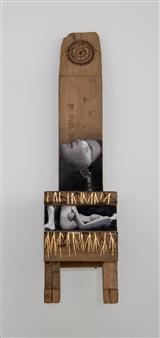 "Mandala Oil and Pyrogravure on Wood 24"" x 7"" x 9"""