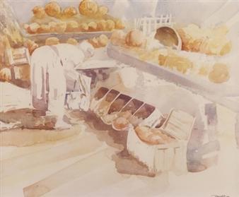 "Pumpkin Lady  (at market near Oregon Ridge in Maryland) Watercolor on Paper 18"" x 24"""