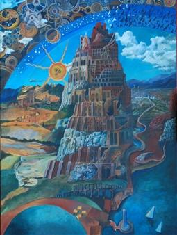 "Babel 1 Acrylic on Canvas 48"" x 36"""